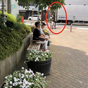 ベンチとバス停が離れている説明画像